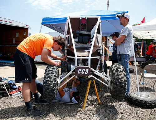 Maintenance on the Baja race car