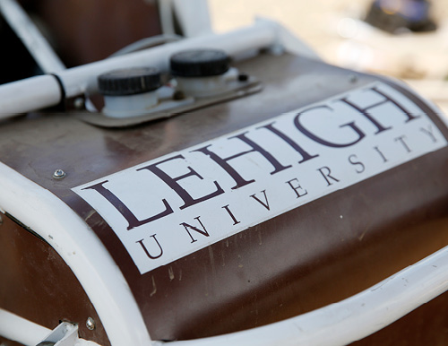 Lehigh University logo on race car hood