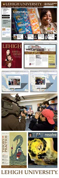 Collage of work produced by University Communications and Public Affairs