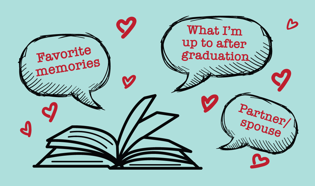 Open book with speech bubbles that say favorite memories, what I'm up to after graduation and partner/spouse