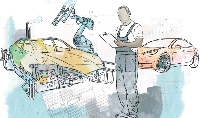 Illustration of a mechanic with two cars