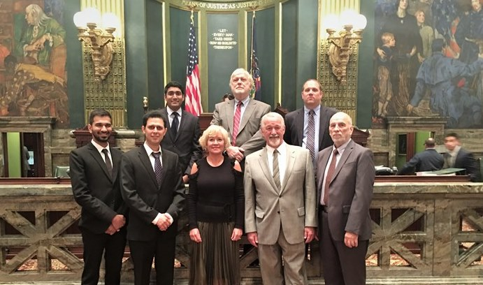 One week before winning the Wagner Prize, ISE faculty members and students were honored on the floor of the Pennsylvania Senate by Senator Lisa Boscola and Representative Steve Samuelson for developing the IADSS model. (Photo courtesy Sen. Lisa Boscola)