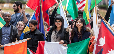 A group of students with country flags