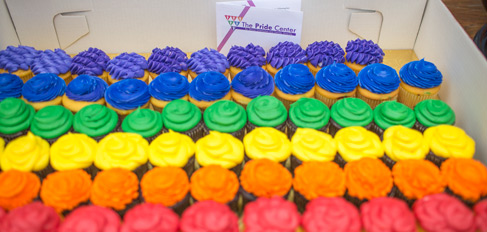 Rainbow colored cupcakes