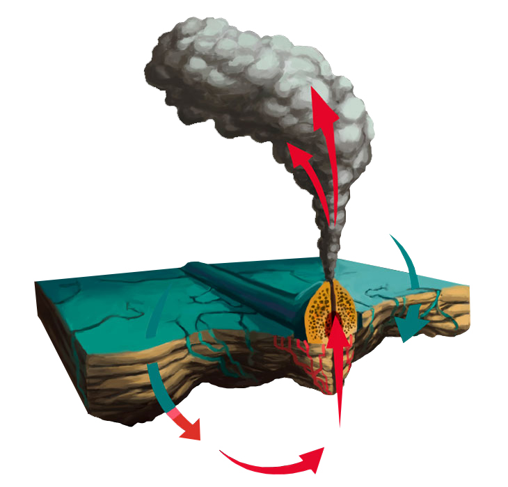 "Sea water seeps through cracks in the sea floor, is heated up by the magma chamber becomes buoyant and is expelled back up like a spring, creating a plume of ""chemical soup."""