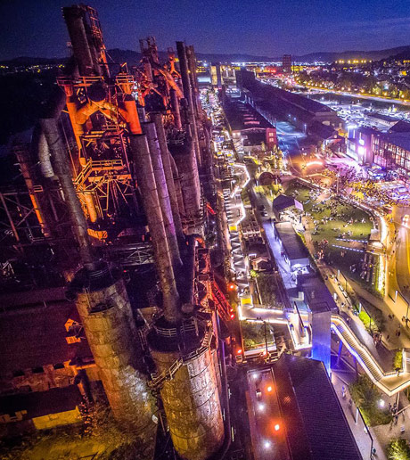 Aerial view of the Bethlehem steel stacks