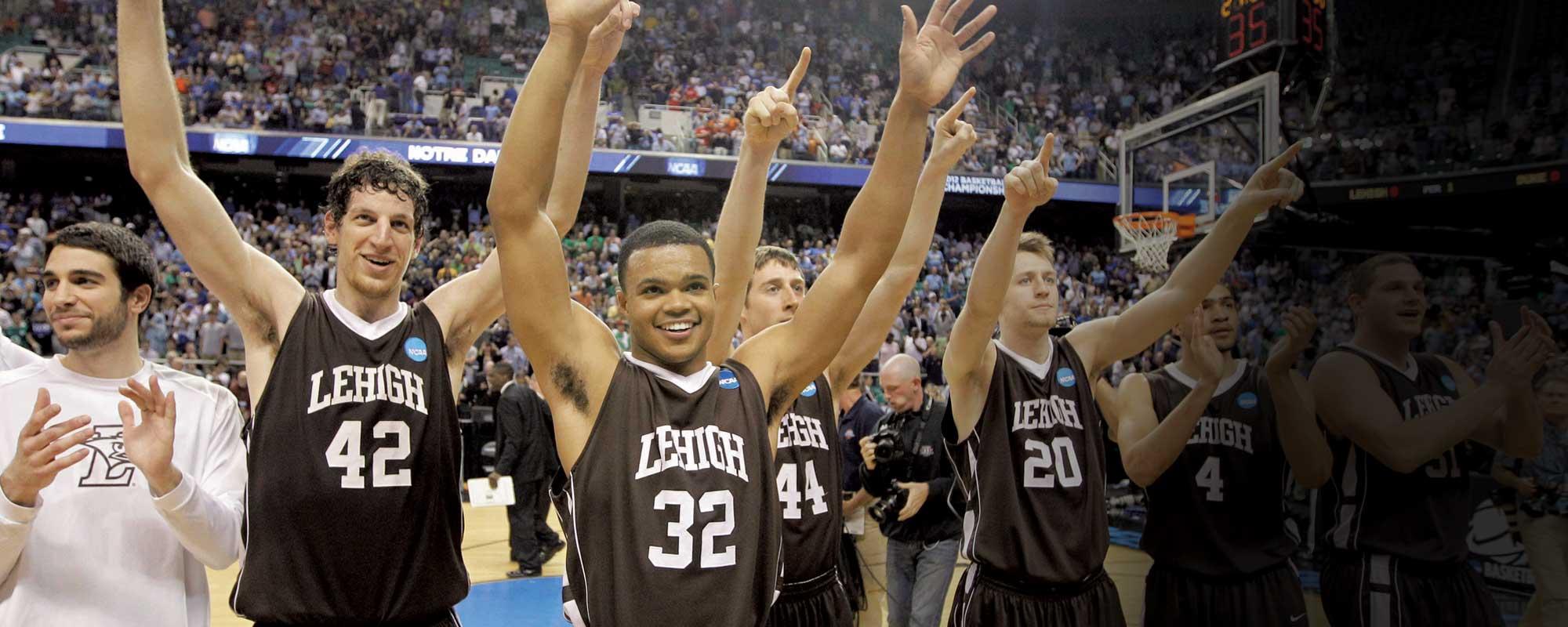 Lehigh basketball team after beating Duke