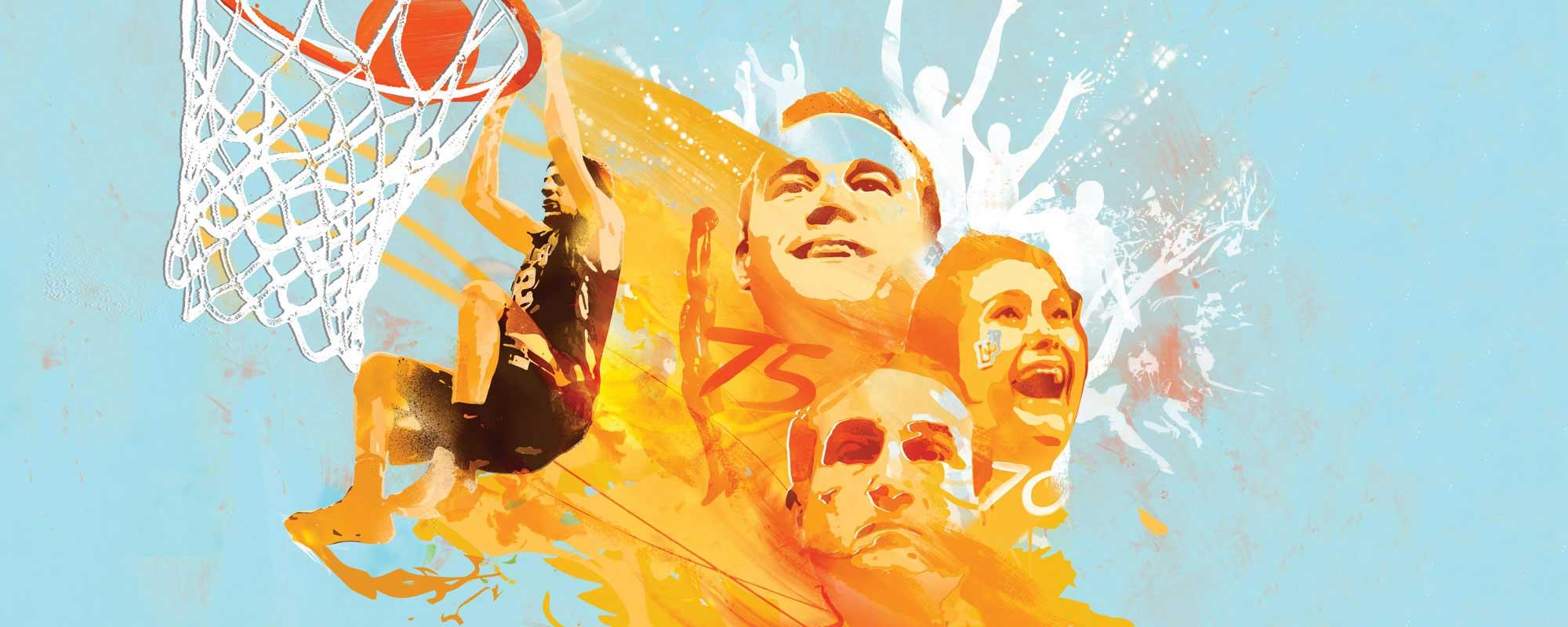 Illustration of Gabe Knutson dunking basketball