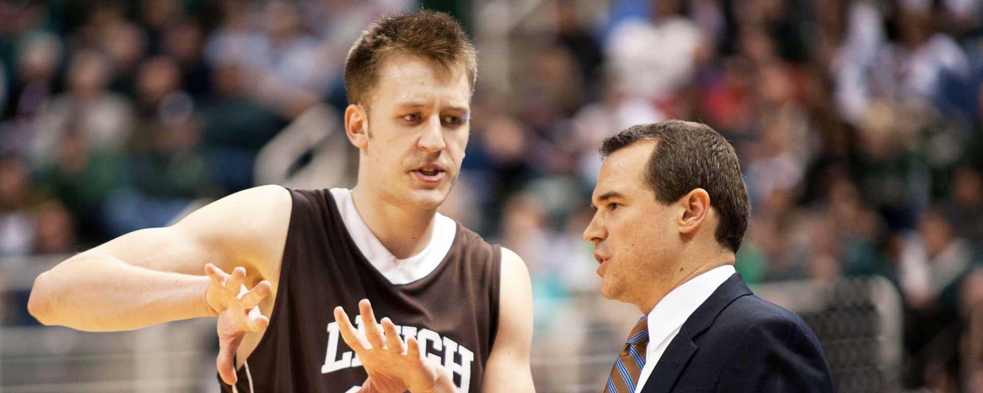 Holden Greiner talking to Coach Brett Reed