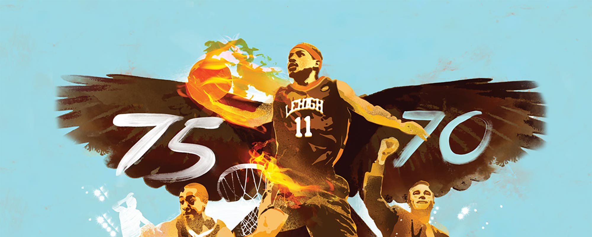 Illustration of Lehigh Basketball team