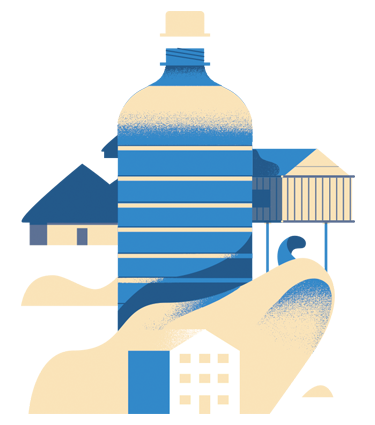 Water bottle and buildings graphic