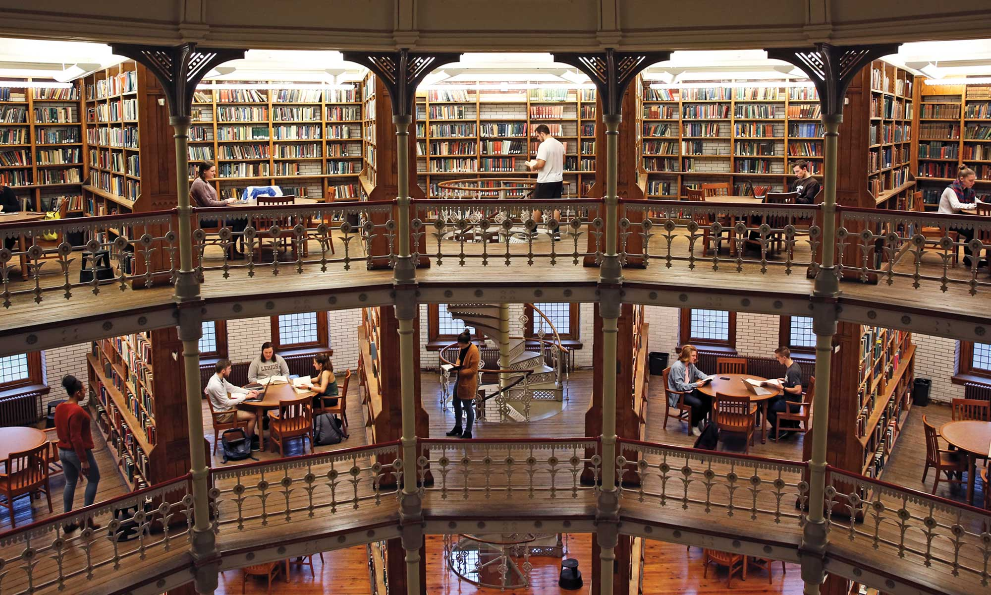 Students studying in Linderman Library rotunda