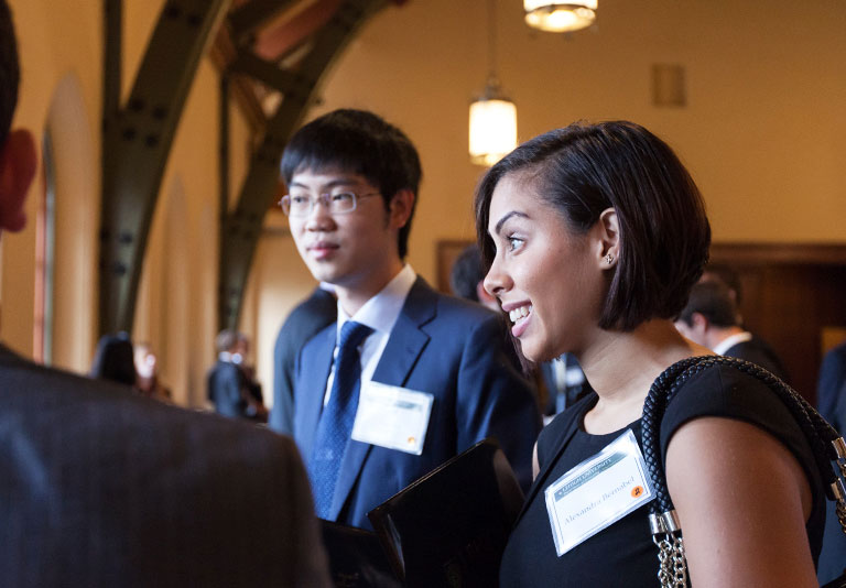 Two Lehigh students networking