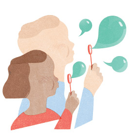 Illustration of children blowing bubbles