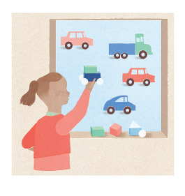 Illustration of child playing with trucks