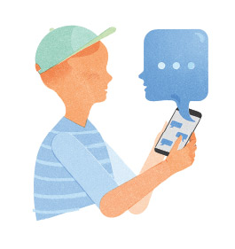 Illustration of child texting