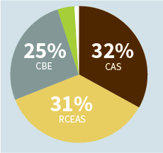 Pie chart showing 33% undergraduates enrolled in College of Arts and Sciences and 36% enrolled in P.C. Rossin College of Engineering and Applied Science