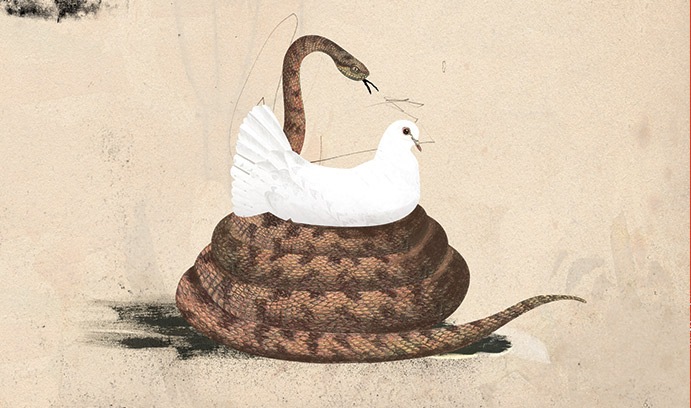 snake around a white bird