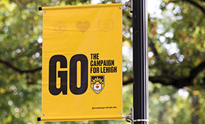 GO campaign banner hanging on campus
