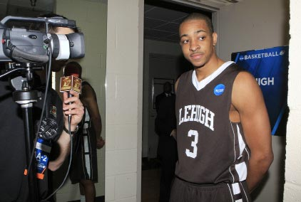 C.J. McCollum being interviewed after game