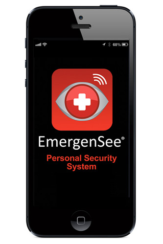 The EmergenSee Personal Security System logo displayed on the screen of an iPhone