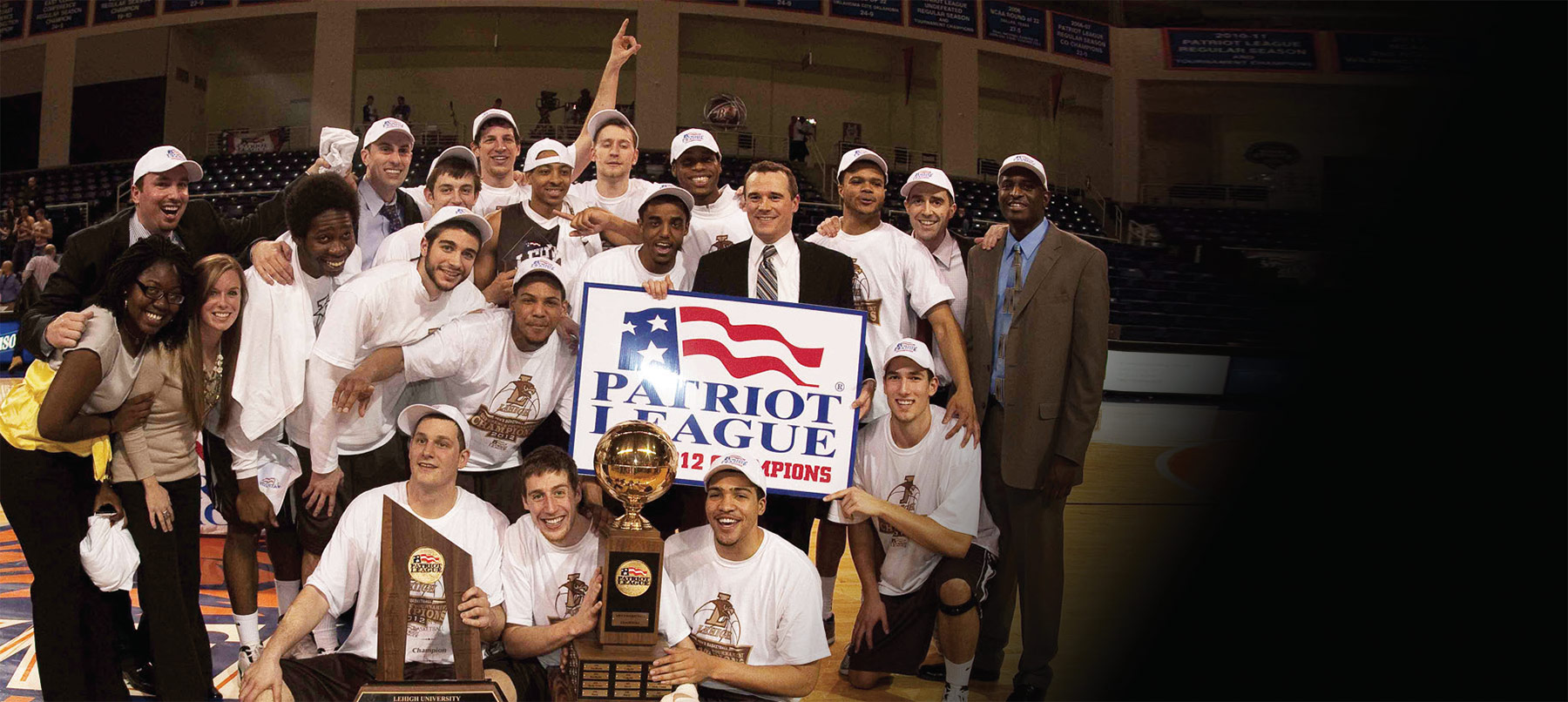 Lehigh University basketball team after winning the Patriot League championship