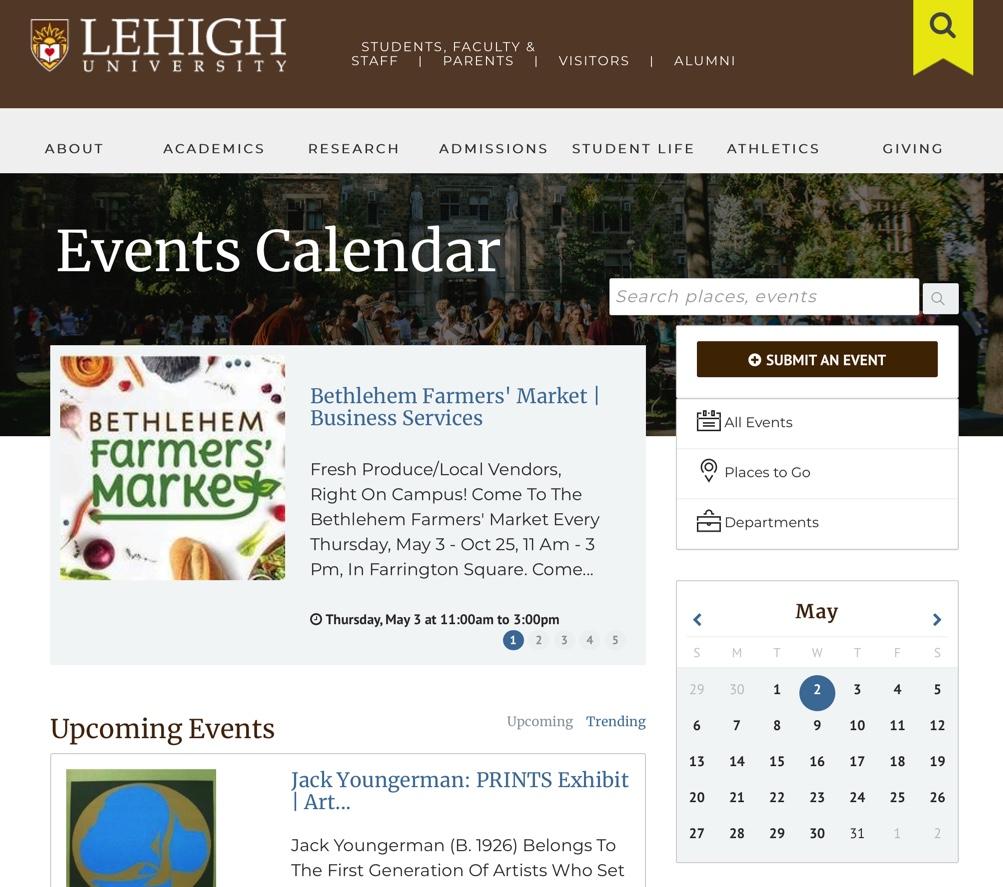 Events Calendar on Desktop and Mobile