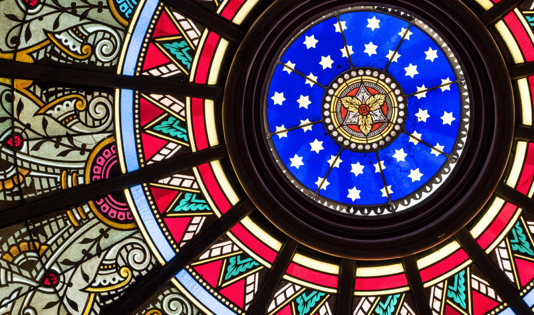 Linderman Library stained glass skylight