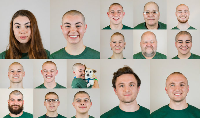 Lehigh students and community members before and after they had their heads shaved for St. Baldrick's event.