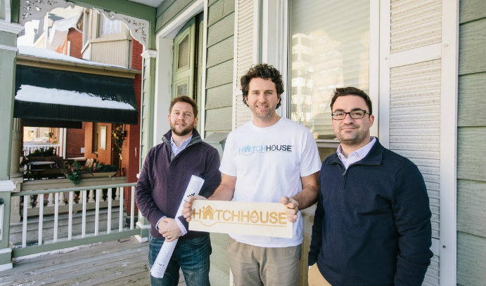 James Byszewski '02, Hatch House founder Steve Boerner '15G and Louis Intile.