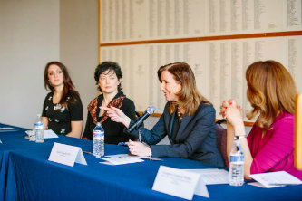 From left: Jena Viviano '12,Jennifer Malatesta-Johnson '94, Cathy Engelbert '86 and Georgette Chapman Phillips