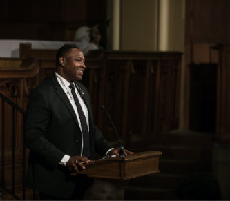 Donald Outing speaks at MLK event