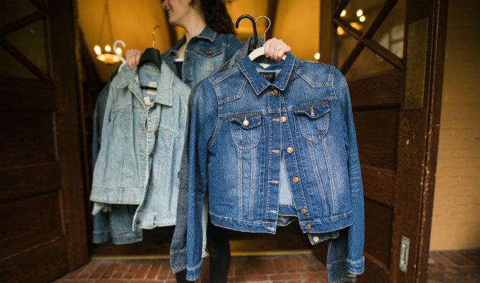 Denim jackets on hangers for Lehigh's Great South Side Sale