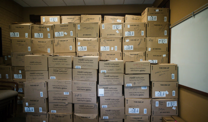 Big pile of cardboard boxes full of donations for Lehigh's Great South Side Sale