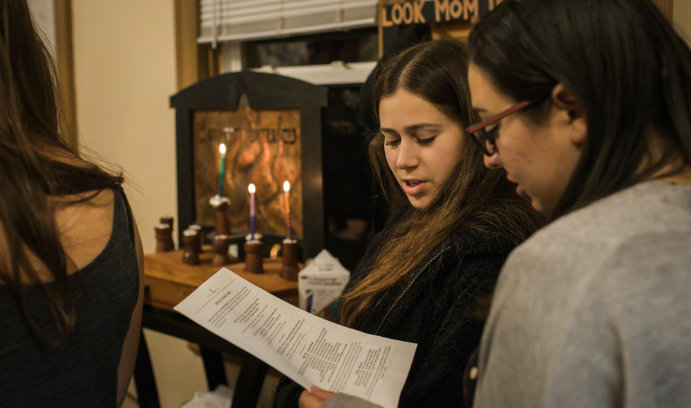 A Hanukkah celebration at the Jewish Student Center for Lehigh Hillel.