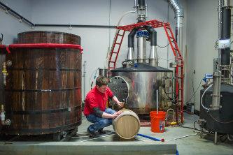 Brichta at the distillery