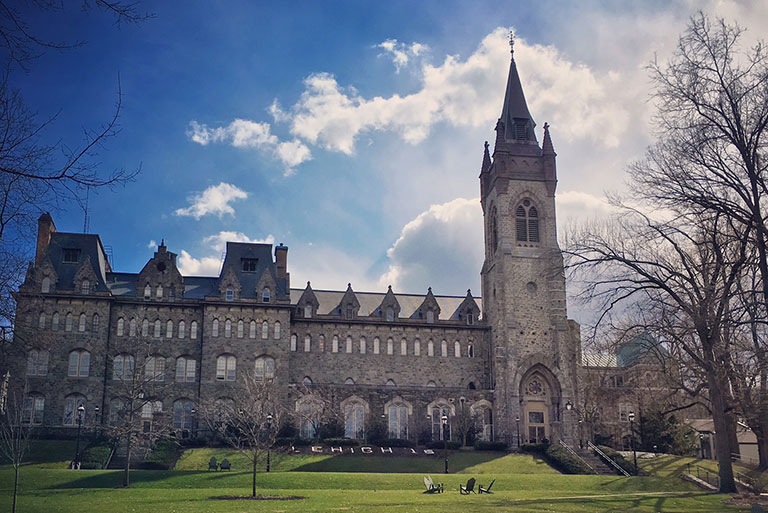 The historic University Center, at the heart of campus, on a beautiful early spring day.