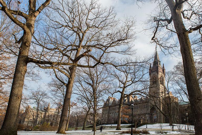 Lehigh's Asa Packer campus in winter
