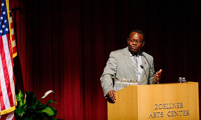 Henry Odi speaking at Zoellner Arts Center