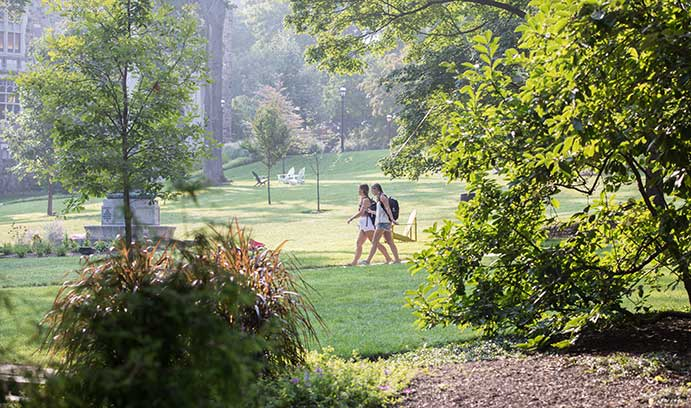Students walk across Lehigh University's campus on the first day of classes Fall 2018.
