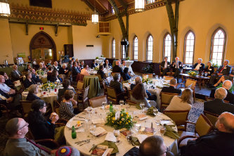 Panel discussion in Lehigh University's Asa Packer Dining Room