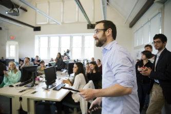 Matt Veto speaks to The Brown and White newspaper staff