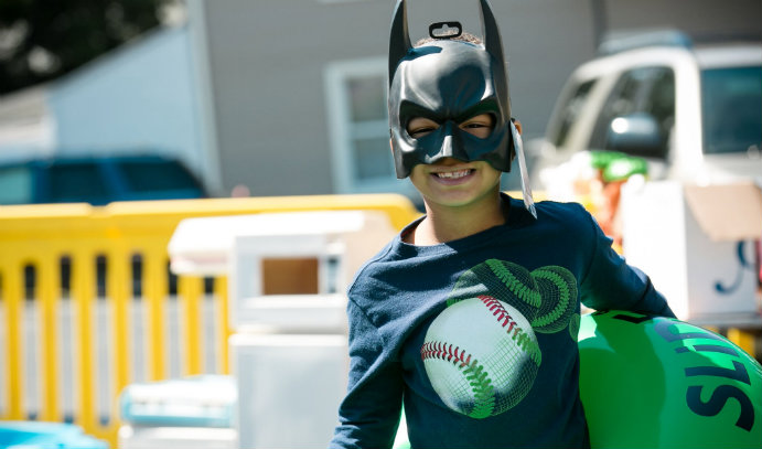 Child in Batman mask at Lehigh University's Great South Side Sale