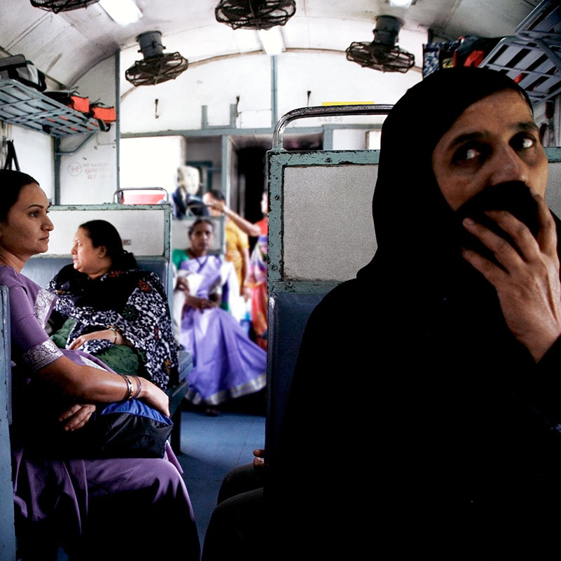 New Delhi woman on bus