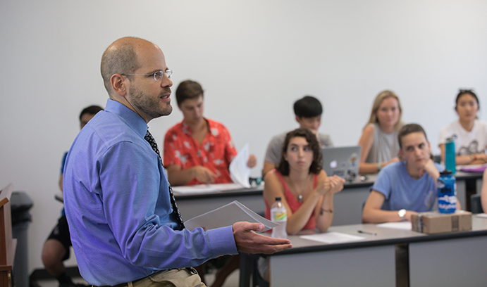 Professor talks to classroom of students at Lehigh University