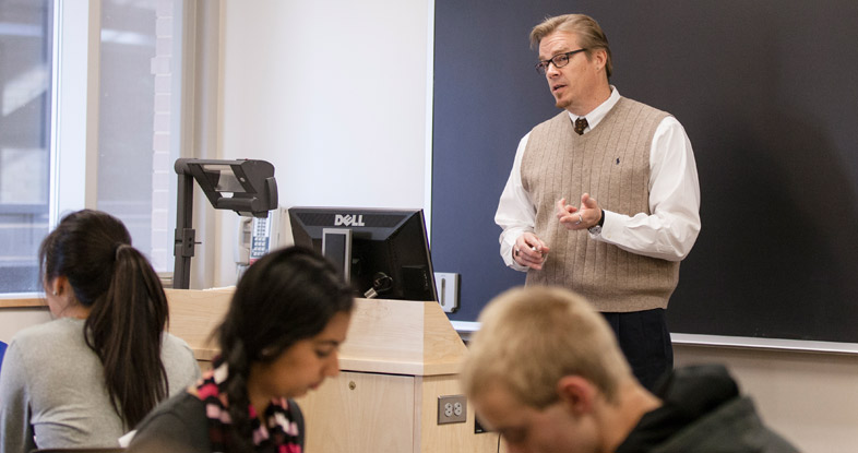 Robert A. Flowers II, department chair and professor of chemistry, teaching a class