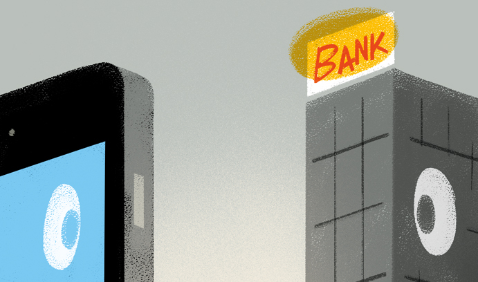 FinTech Smartphone and Bank Graphic