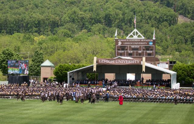 Stadium with graduates - The ceremony was held on a beautiful late spring day at Goodman Stadium.