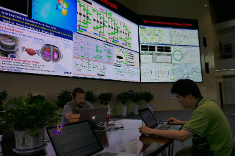 Lehigh Ph.D. student Hexiang Wang setting up the plasma control system at Experimental Advanced Superconducting Tokamak (EAST) in China