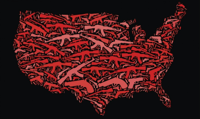 Map of US made of guns